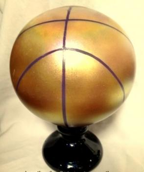 Gold Luster Blown Glass Basketball Trophy/ Award. Glass Art Award