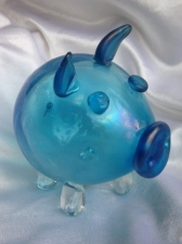 Aqua Marine handblown pig. Glass art for sale