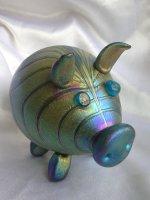 Gold luster blown glass Pig. Glass Art Sculpture. Glass art for sale