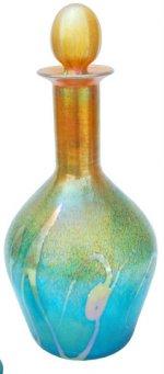 24 Karat Gold Iridescent Wine Decanter with aqua Marine Wave Design. Corporate Gift