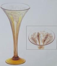 Iridescent white Champagne Flute with 24 karat gold vine design. Handmade