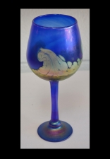 Iridescent Blue Wine Glass with 24 karat Gold Wave Design.