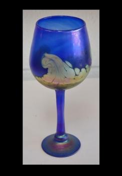 Iridescent Blue Wine Glass with 24 karat Gold Wave Design.