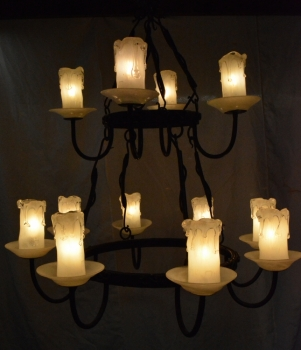 Contemporary White Candle Chandelier With Forged Metal Fixture By Saul Alcaraz