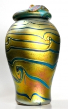 Gold Luster Urn with Green King Tut Design