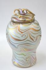 White Luster Urn with 24 karat gold King Tut design