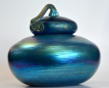 Blue Luster Urn with red Threading Design