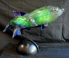 Hand-Blown Dolphins Sculpture