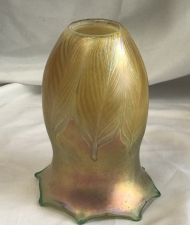 Luster Gold Shade With Green Pulled Feather Design