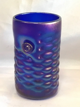 Iridescent Blue Arowana Fish Drinking Glass.  Handblown
