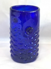 Cobalt Blue Arowana Fish Drinking Glass. Handblown