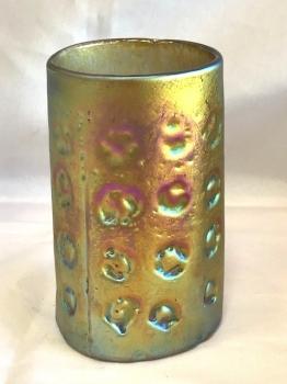Iridescent Gold Tiger Paw Drinking Glass.  Handblown