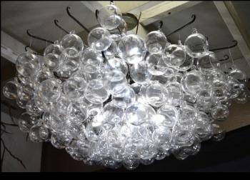 Blown Glass Bubble Orb Chandelier