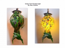 Green with Multicolor Spot Fish Pendant Light