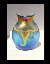 Iridescent Aqua Marine and Gold Owl Vase