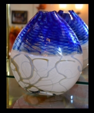 Contemporary Blue White and Gold Vase