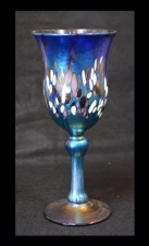 Blue luster Wine Glass with multicolor spot design