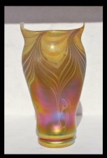 Gold luster Vase with Green Wave Design