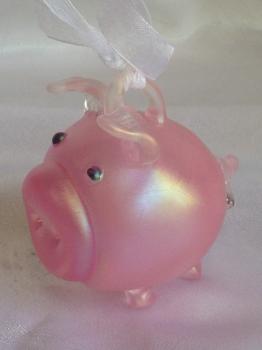 Pink Iridescent  Pig Ornament. Blown Glass & hand-made