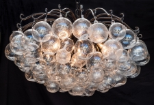 Blown Glass crackle Bubble Orb Chandelier