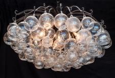 Blown Glass crackle Bubble Orb Chandelier