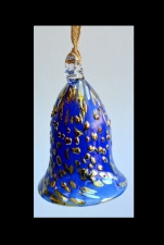 Cobalt Blue Christmas Tree Bell With Gold Spot Design