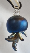 Blue luster Jellyfish Christmas Ornament. Blown Glass