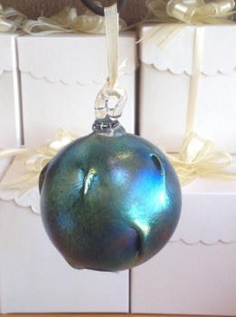 Blue luster Christmas Ornament. Blown Glass & Hand Made