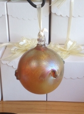 Gold Luster Christmas Ornament. Blown Glass & Handmade