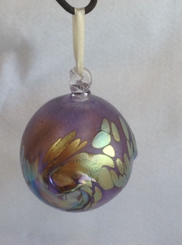 Iridescent Gold and Purple Christmas Ornament. Hand Made