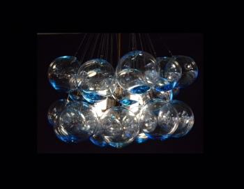 Aqua Marine Glass Bulb Chandelier